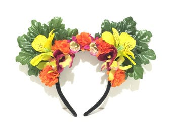 Tropical tiki hawaiian mouse ears headband with yellow, orange and plum flowers