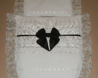 White Broderie Anglais & White Lace with Black Satin Bow Moses Basket or Baby Pram Stroller Quilt Set