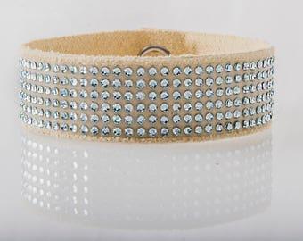 Swarovski Leather Bracelet/ Women's Leather Bracelet/ Soft Leather Bracelet in Tan