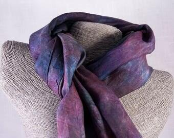 Silk scarf, hand-dyed, purple, blue, black