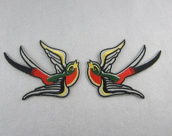 Embroidery Swallow Iron On Patch, Bird Applique with Glue Backing