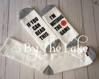 """If You Can Read This, I'm Watching the Game """"Basketball"""" Men or Women Personalized Funny Sock"""