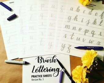 Brush Lettering Practice Sheets Ver. No. 3