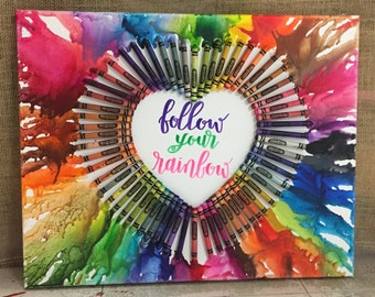 Melted crayon art follow your rainbow heart blue red yellow green orange
