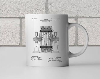 Tesla Electric Circuit Controller Patent Art Mug Gift, Tesla Mug, Nikola Tesla, Tesla patent, Tesla invention, Tech Gift, Technology Gift