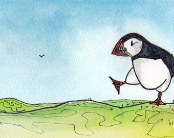Commissioned Original Puffin Wildlife Artwork