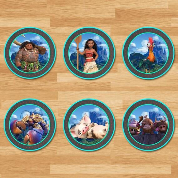 Moana Cupcake Toppers - Chalkboard - Moana Stickers - Disney Princess Toppers - Moana Printables - Moana Party Favors - Moana Birthday