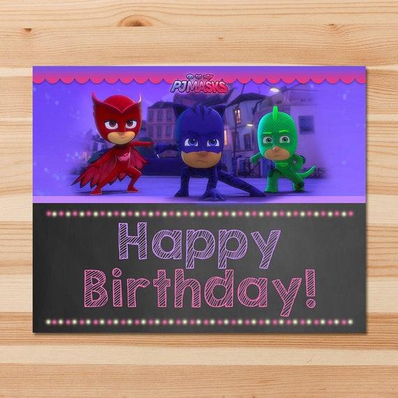 PJ Masks Happy Birthday Sign - Pink Chalkboard - Girl PJ Masks Sign - PJ Masks Birthday Girl Party - Pj Masks Party Printable Happy Birthday
