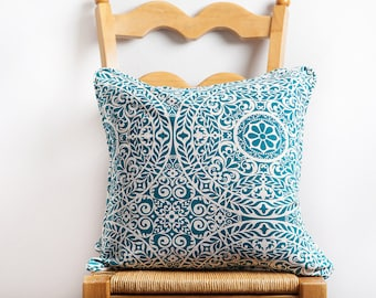Turquoise Pattern Pillow Cover, Blue, Pillow Cover, Pattern Pillow, Mandala Pattern, Turquoise Pillow, Turquoise Pillow Cover, Cotton, Linen