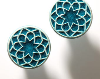 Ceramic knobs for furniture, No.1, turquoise