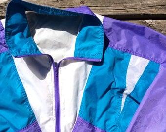 Beautiful 80's / 90's Windbreaker Pastel Purple/Teal/White Zip Up Large