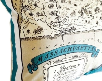 Massachusetts Vintage Map Pillow Cover with Insert