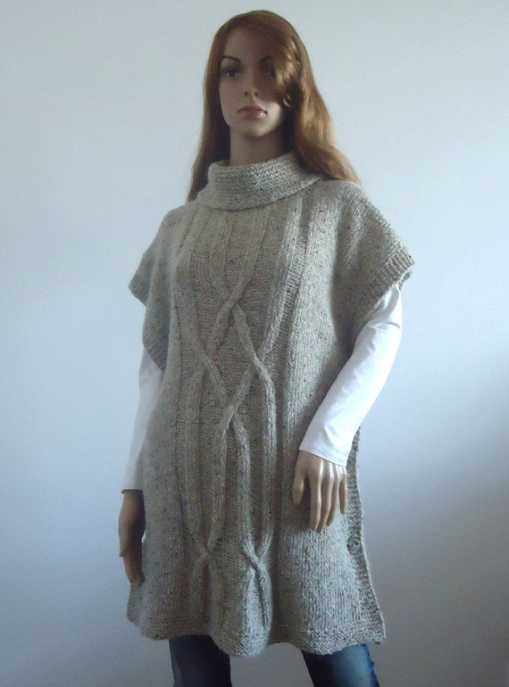 Beige poncho Wool knit  Loose fit brown sweater Loose knit women tunic Hand knitted Women's Clothing knitted jumper 100% hand made