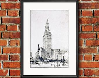 1928 Terminal Tower Etching