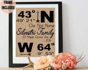 New Beginnings Sign New Home Print Burlap Prints Personalized Print Bridal Shower
