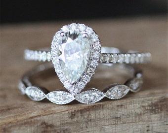 Forever Brilliant Moissanite Engagement Ring Set FB 6*9mm Pear Moissanite Ring Set Art Deco Half Eternity Wedding Ring Set 14K White Gold