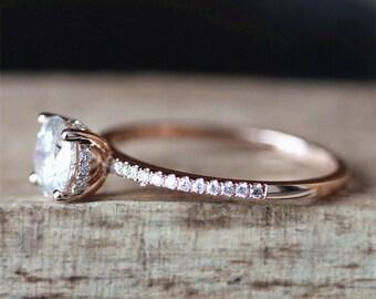 1.0ct Forever Brilliant Moissanite Engagement Ring 6.5mm Round Cut Moissanite Ring Diamond Eternity Ring Band 14K Rose Gold Ring Bridal Ring
