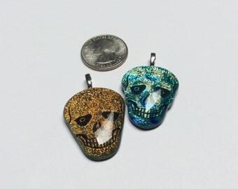 Dichroic Glass Skull Pendants - 2 pieces - #770