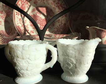 Westmoreland Milk Glass Bramble Cream and Sugar