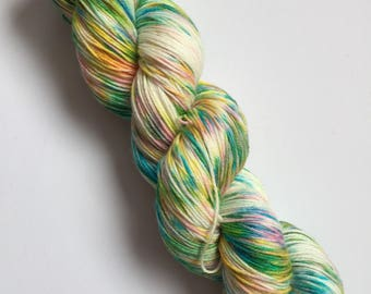 Amazon Rainforest Speck-Al Hand Dyed Sock Yarn 100g DYED TO ORDER