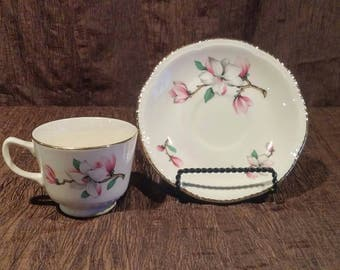 Vintage Homer Laughlin Dogwood rare footed tea cup and saucer set, free shipping
