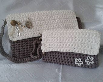 "Clutch-bag to the hombro-Funda tablet or iPad 7.9 ""- 12, 9"", trapillo crochet"