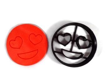 Heart Eyes Emoji Cookie Cutter - Heart Emoji Cutter - Heart Emojis - Emoji Cookie Cutters