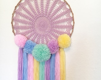 12'' pastel pom pom dreamcatcher