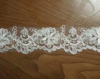 Alencon Lace Trim for DIY Wedding Veil Wedding Dress, Price for 5.5 Yards (LT03)