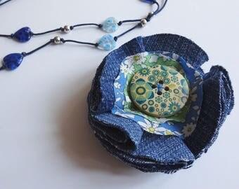 Upcycled Denim flower brooch, Boho flower brooch, blue flower brooch, fabric flower brooch, blue flower pin, denim brooch, upcycled brooch,