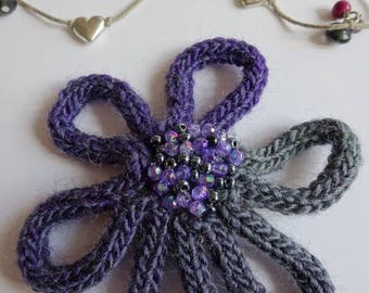 Purple flower brooch, grey flower brooch, beaded flower brooch, Knitted flower brooch, purple flower pin, grey wool brooch, grey flower pin