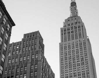 Empire state building Photography print or canvas, NYC, Black and white print, urban photography, New York City wall art, NYC home decor