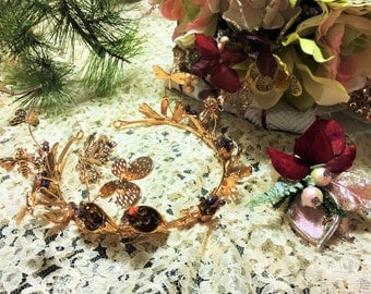 Bridal Crown Gold Rose Gold Baroque Tiara Butterflies Dragonfly Crown Forest Fairy Crown Diana Wedding Hair Jewelry Accessories