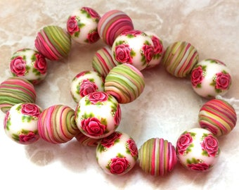 20 polymer clay beads, floral, rose with leaf, romantic rose, handmade beads