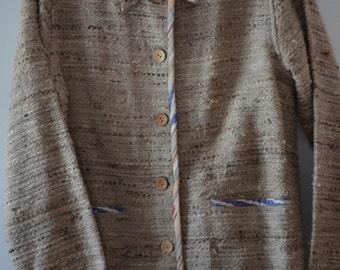 Code FOREVER15: 15% coat 90's beige oatmeal cotton/silk Boho Small/Medium