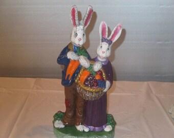 2 spring bunnies  ceramic