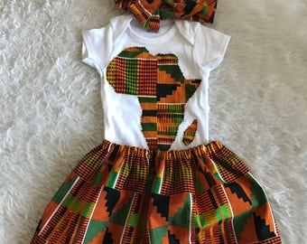 African skirt/twin ankara outfit/African babygirl clothes/baby set/ headwrap/Newborn clothes/African clothing/Ankara skirt/Kente Fabric/Girl