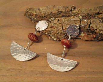 Earrings silver hammered 925/1000. Inca model