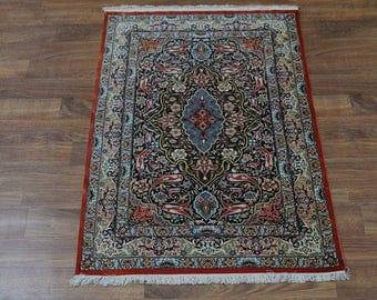 Top Quality Small Size Ghom Qom Persian Pure Silk Oriental Area Rug Carpet 3'5X5