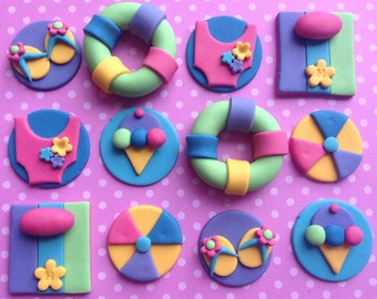 12 edible SUMMER cupcake toppers. BEACH party girls birthday. Cake decorations. Sugar toppers
