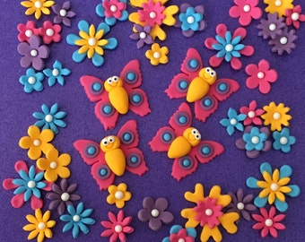 50 edible fondant BUTTERFLY and FLOWER cupcake toppers. Cake decorations. Vibrant colours.