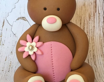 3d edible fondant TEDDY cake topper. First birthday. Teddy bear picnic. Party.