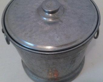 Vintage Old Antique Pewter Ice Bucket, Shelf Display, Den Decor, Garage Decor, Home Decor, Vintage Pewter Ice Bucket, Metal Bucket Pail