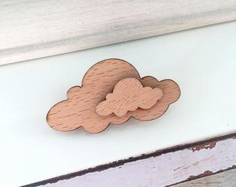 Natural Wooden cloud brooch