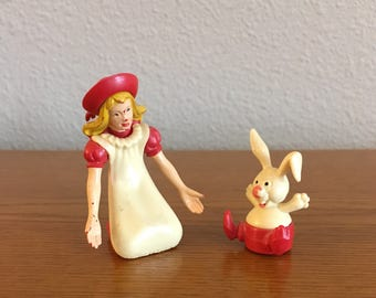 Vintage Magneto Alice in Wonderland and White Rabbit Chase Toy- Magneto West Germany Magnetic Toy