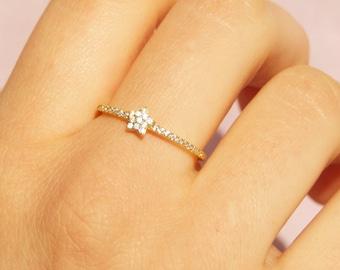 Gold cz ring - thin stacking ring - ring - cz ring - tiny gold cz ring - tiny cz ring - star ring - gold star ring - gold ring - Q10840