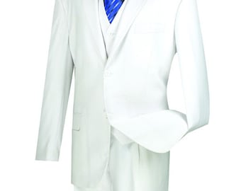 Classic-fit men's suit 3 piece suit 2 bottons solid white suits new with tag