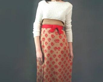 Merino wool skirt Soft skirt High waisted skirt Maxi skirt Beige skirt A-line skirt Knit skirt Long skirt Spring skirt Flared skirt Red rose