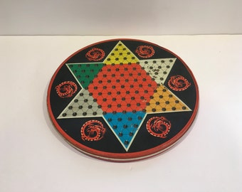 Vintage Chinese Checkers Tin , Vintage Checkers Game , Chinese Checkers Game , Red, Black , Marbles , Retro , Game Room , Decor, Repurpose