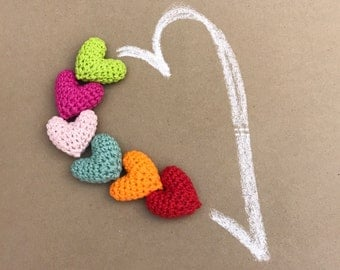 Amigurumi Heart, Small Crochet Heart, One Heart in Your Color Choice, Decorative Hearts